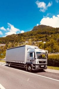 LCS lorry driving in mountain