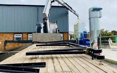 Hiab installation of dust extractor in Cornwall