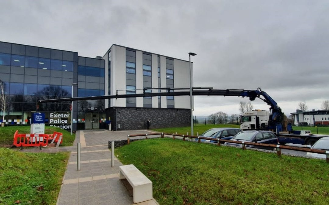 Hiab installation of new signage for Exeter Police Station