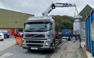 Crane transport of large dust collector to Newquay, Cornwall
