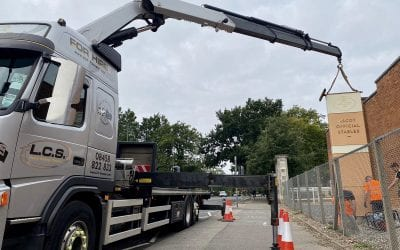 Hiab / Crane installation of sign ready for Ascot races