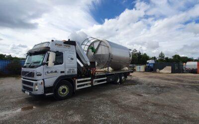 Hiab delivery of oversized tank to Okehampton