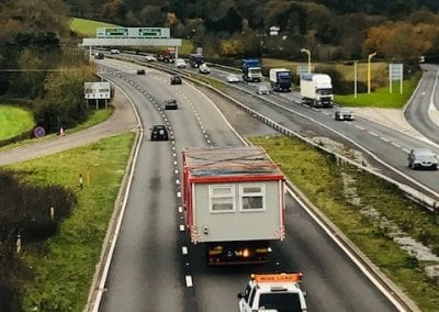 LCS Transport lorry with wide load on road