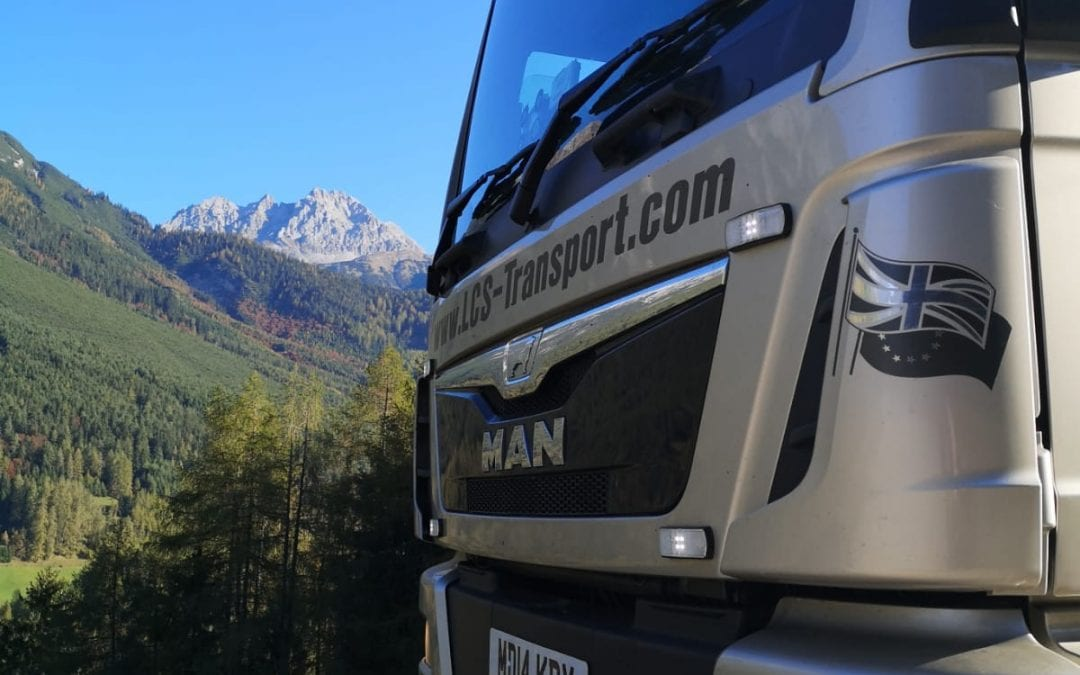 LCS lorry in Italy with Mountain