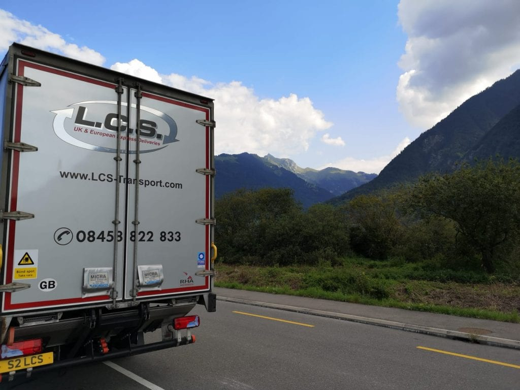 LCS lorry in Switzerland mountains