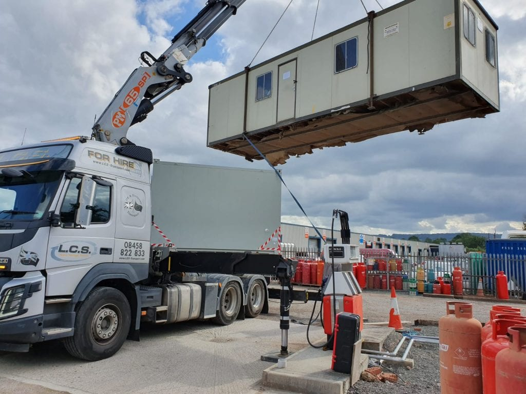 LCS Crane lorry offloading office