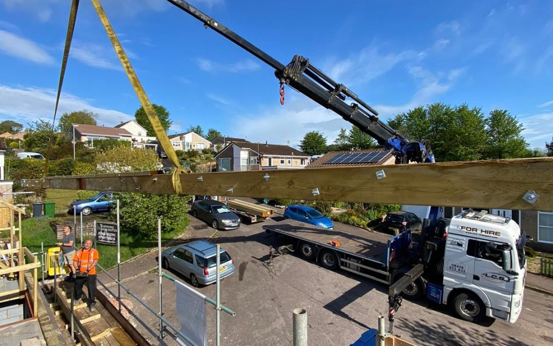 Hiab installation of large Roof Trusses in Devon