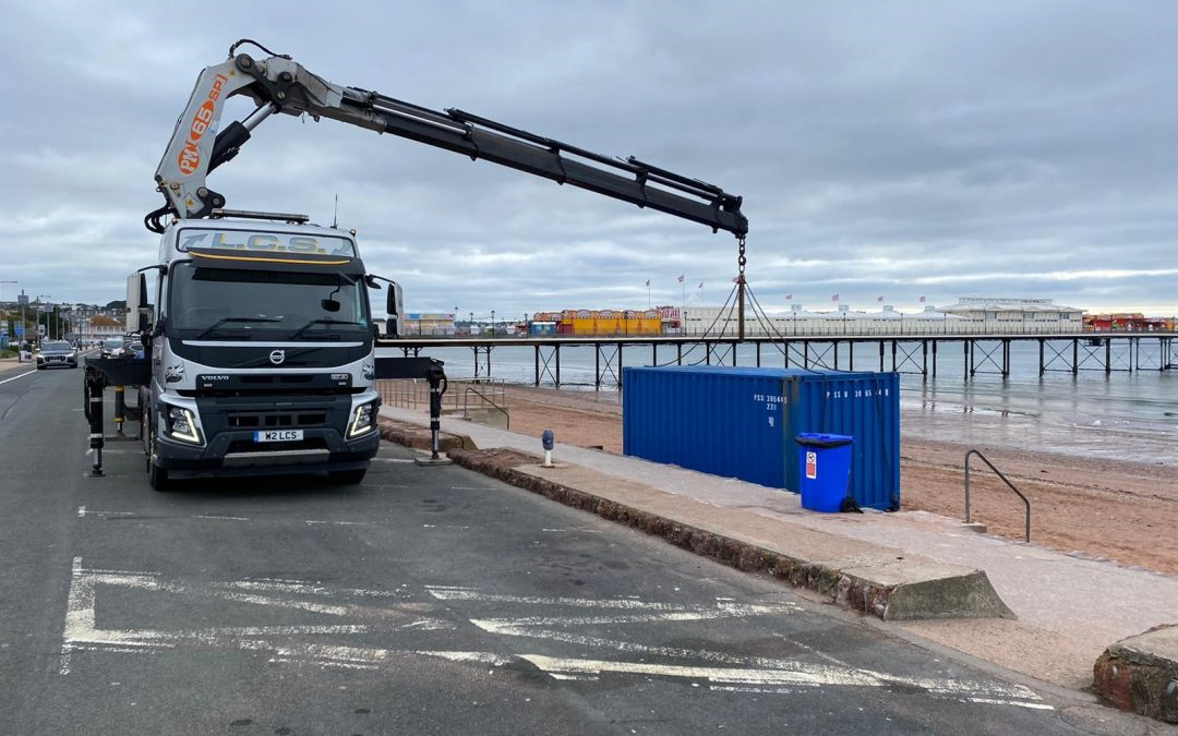 Early morning container delivery to Paignton Seafront